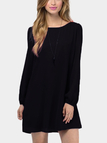 Black Chiffon Cross Back Design Long Sleeves Mini Dresses