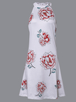 White Halter Neck Random Floral Print Dress