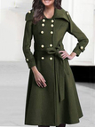 Army Green Double-breasted Lapel Collar Trench Coat
