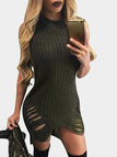 Army Green Sexy Crew Neck Sleeveless Ripped Mini Dress