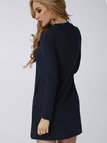 Navy Blue Casual Grey High Neck Mini Dress With Pocket