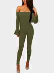 Army Green Elastic Off Shoulder Flared Sleeves High Waits Jumpsuits