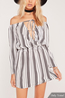 Off Shoulder Wrap Top Black Vertical Stripes Mini Dress