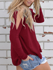 Burgundy Cold Shoulder Long Sleeves Splited Sweatshirt