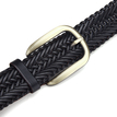 Black Wide Plaited Leather Belt