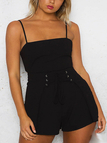 Black Self-tie Back Backless Design Playsuit