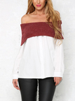 Contrast Color Sexy Off Shoulder Patchwork Design T-shirt