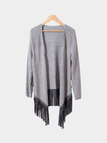 Grey Open Front Knitted Cardigan with Tassel Hem