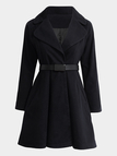Black Fashion Lapel Collar Outerwear with Seamed Pocket