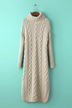 Chunky Cable Jumper Dress in Beige with Funnel Neck