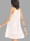 White Sleeveless Pleated Cami Mini Dress