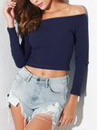 Navy Plain Off The Shoulder Long Sleeves Crop Top