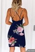 Navy Random Floral Print Backless V-neck Sleeveless Dress