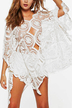 Mesh Insert Embroidery Mini Dress