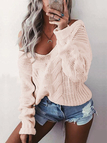 Pink V-neck Long Sleeves Causal Loose Jumper