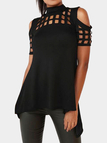 Black Cold Shoulder Cut Out Hollow Splited Hem Back T-shirts
