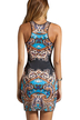 Random Floral Pattern Crew Neck Sleeveless Dress