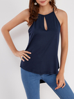 Navy Sleeveless Design Chest Cut Out Top