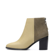 Apricot Patchwork Design Ankle Boots with Zipper Back