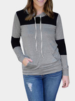 Double Color Pocket Front Hooded Sweatshirt