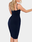 Navy V Neck Sleeveless Mesh Details Midi Dress