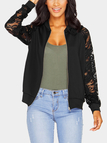 Fashion Black Zipper Front Lace Outerwear