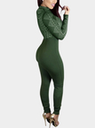Army Green Random Floral Print Perkins Collar High-waist Bodycon Jumpsuit