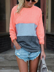 Pink Patchwork Round Neck Long Sleeves T-shirt