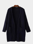 Long Sleeve Knitted Cardigan in Navy