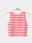 Col rond sans manches Stripe Pattern Crop
