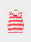 Round Neck Sleeveless Stripe Pattern Crop