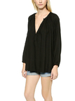 Deep V Neck Drape Blouse