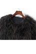 Round Collar Artificial Fur Cropped Coat