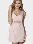 Pink Plunge Sleeveless Cut Out Mini Dress