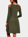 Army Green Cut Out Cold Shoulder Long Sleeves High-waisted Dress