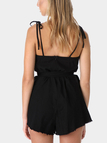 Square-neck Open Back Playsuit in Black