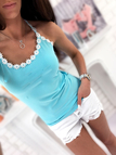 Light Blue Scoop Neck Crochet Floral Lace Trim Cami Top