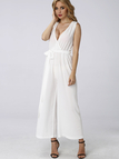 Sheer-through Sleeveless Self-tiet Waist Wide Leg Trousers Jumpsuit