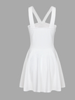 White Sexy Tube V-neck Bow Bodycon Mini Dress with Falsies