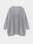 V Neck Drop Shoulder Sweater in Gray