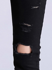 Black Ripped Skinny Jeans Com Cut Out Detalhes