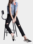 Black Ripped Skinny Jeans With Cut Out Detalhes