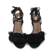 Black Block Heel Pointed Open Toe Lace-up Strap Sandals With Tassel Trim