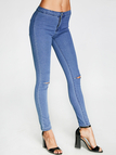 Blue High-rise Bodycon Knee Ripped Jeans