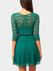 Dusty Green Lace Skater Dress with Belt