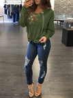 Army Green Sexy Deep V-neck Lace-up Front Hoodie Sweatshirts