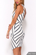 Plunge Cut-out Back Visible Zipper Stripe Dress
