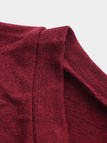 Red Crew Neck Long Sleeves Patchwork Design Sweater