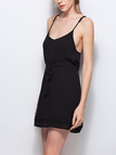 Black Drawstring Waist Mini Dress