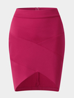 Red Crossed Front Design Bodycon Skirt